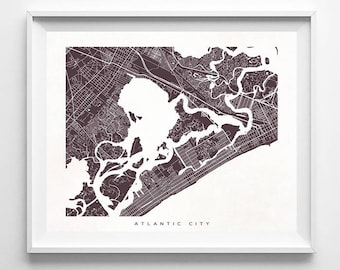 Atlantic City Map Print, New Jersey Print, New Jersey Poster, Nursery Posters, Artwork At Home, Artwork For Kitchen, Christmas Gift