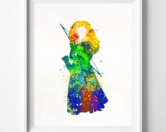 Merida Poster, Merida Art, Brave Watercolor, Princess Merida, Disney Princess, Brave Print, Watercolor Painting, Type 1, Fathers Day Gift