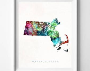 Massachusetts Map Print, Boston Print, MA Poster, Boston Map, State Art, Giclee Art, Map Print, Traveler, Gift For Her Decor, Gift For Her
