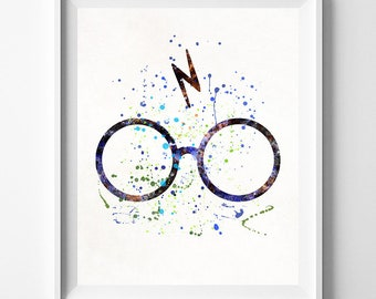 Harry Potter Print, Harry Potter Poster, Harry Potter Glasses, Harry Potter Gift, Baby Room Decor, Nursery Art, Fathers Day Gift