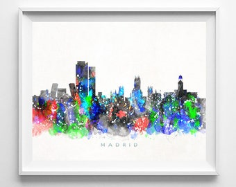 Madrid Skyline Print, Spain Print, Madrid Poster, Spain Cityscape, Watercolor Painting, Poster, Wall Art, Home Decor, Christmas Gift