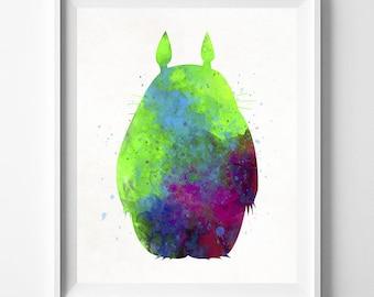 Totoro Art, Totoro Poster, Ghibli Poster, Miyazaki Art, Totoro Print, Watercolor Art, Baby Gift, Giclee Art, Gift Idea, Type 1, Dorm Art