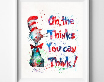 Dr. Seuss, Dr. Seuss Print, Doctor Seuss, Dr. Seuss Art, Dr. Seuss Poster, Seuss Watercolor, Nursery Posters, Type 2, Fathers Day Gift