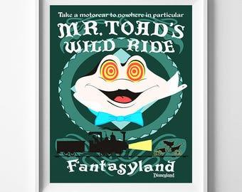 Disneyland Artwork, Disneyland Vintage, Disney Poster, Disneyland Print, Mr Toad's, Wild Ride, Mr Toad, Disney, Fantasyland, Valentines Day