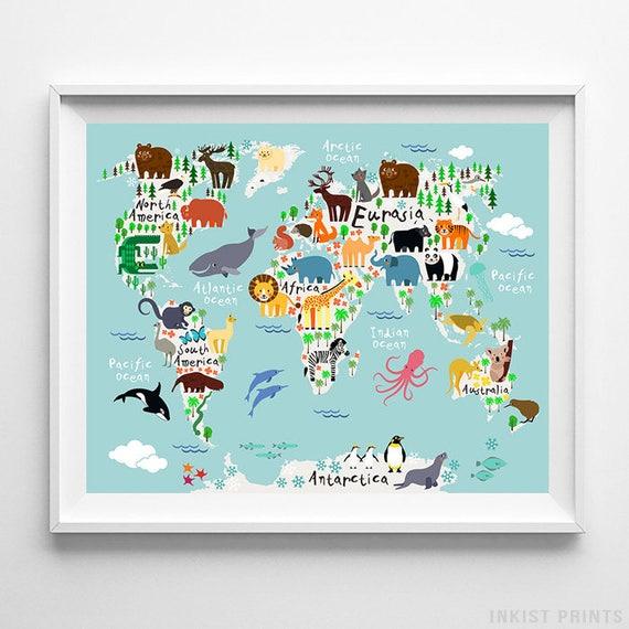 Animal world map poster world map art animal print animal gumiabroncs Choice Image