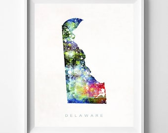 Delaware Map, Dover Print, Delaware Poster, Dover Map, Map Art, Travel Poster, Watercolor Painting, Wall Decor, Christmas Gift