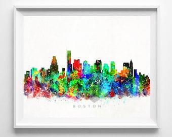 Boston Skyline Print, Watercolor Art, Massachusetts Art, City Poster, City Skyline, Wall Art, Cityscape, Home Decor, Christmas Gift