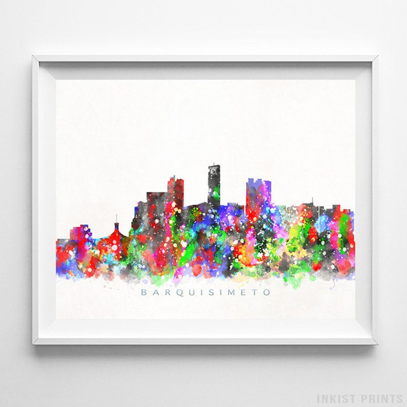 Barquisimeto DecorWedding Skyline PrintVenezuela Decor ArtPosterCityscapeWatercolor PaintingWall H2Y9IWED