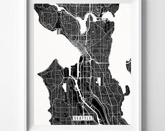 Seattle, Washington, Map Print, Street Poster, City Road, Minimalist Home Decor, Wall Art, Living Room, Wedding Gift, Christmas Gift
