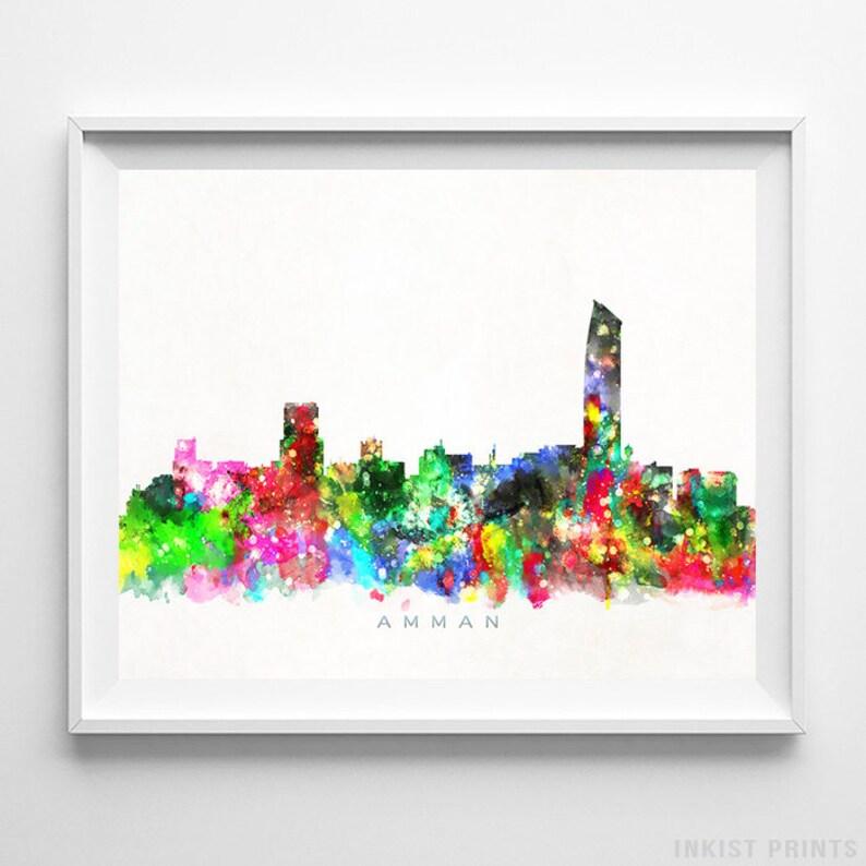 fdee5596084e Amman Skyline Print Jordan Wall Art Cityscape Jordan Art