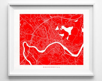 Haverhill Map, Massachusetts Print, Haverhill Poster, Massachusetts Art, Office Wall Decor, Bedroom Art, Home Goods, Fathers Day Gift