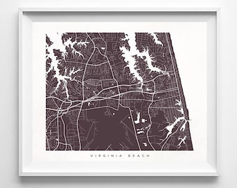 Virginia Beach Street Map, Virginia Poster, Hometown Print, Modern Home Decor, Office Decoration, Wall Hanging, Art, Christmas Gift