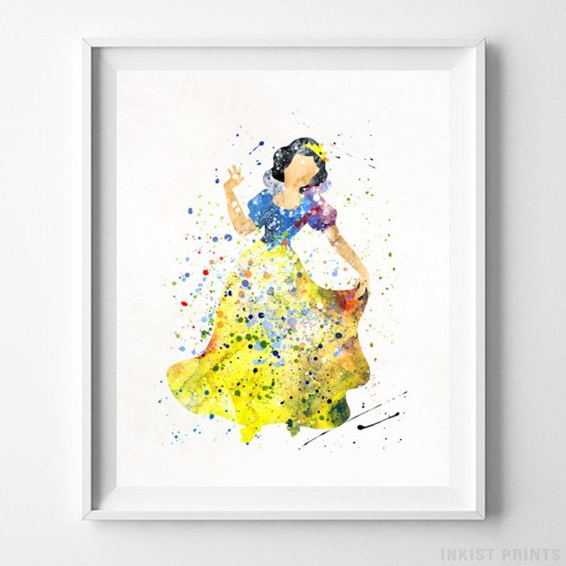 Snow White Print Disney Princess Home Decor Watercolor