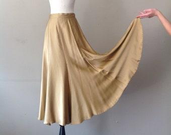 S / Henri Bendel Silk Skirt / Metallic Gold / Maxi Long / Small / 1930's 30's Style / Bias
