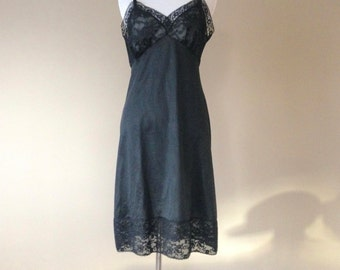 34 / Vintage Van Raalte Full Slip / Dress Extender / Black Nylon with Wide Lace  / FREE USA Shipping
