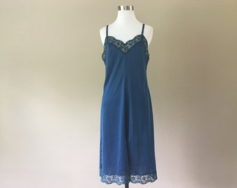 09447409ad20 Vintage Olga Full Slip, Underdress Under Dress Slip, Navy Blue Nylon with  Wide Lace & Slit, 34, Small, S