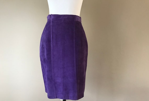 Vintage Suede Skirt, Purple Leather High Waisted P