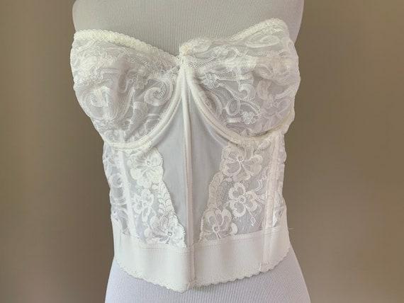Vintage Plus Size Bustier Bra Top, White Lace Vin… - image 2
