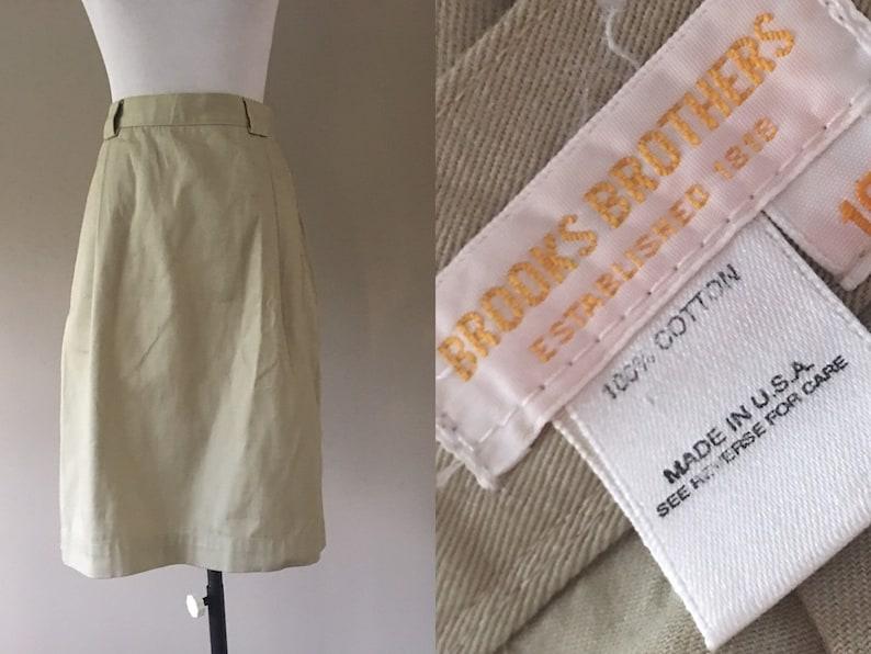 Vintage High Waisted Waist Cotton Skirt with Pockets Brooks Brothers Khaki Skirt Small S