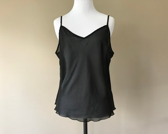 L / Chiffon Camisole Cami Lingerie Top / Sheer See Through Black Chiffon / Large / FREE Shipping