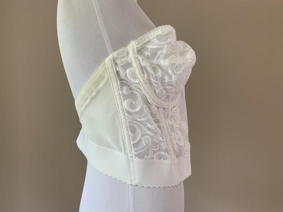 Vintage Plus Size Bustier Bra Top, White Lace Vin… - image 3
