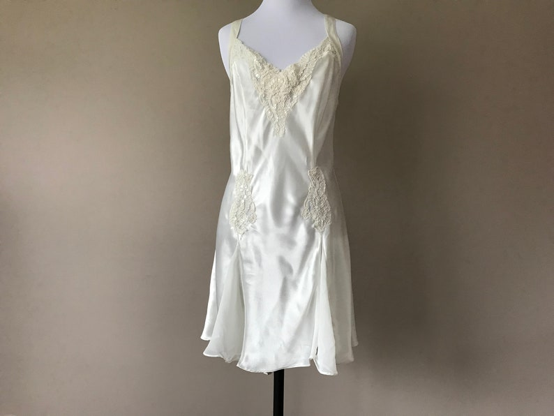 Victorias Secret Women Size Small White Bridal Lingerie Slip Lace Sequin Chiffon Other Women's Intimates