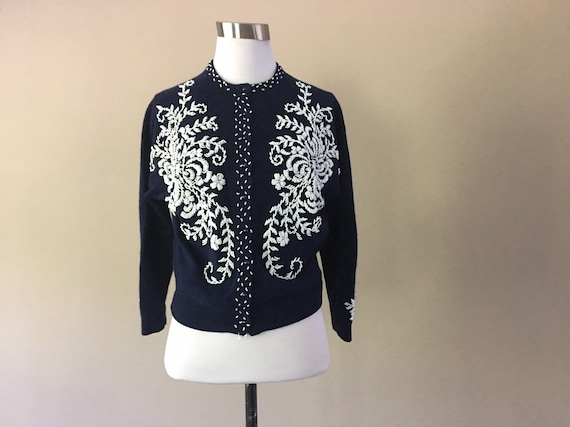 50's Beaded Cardigan Sweater, 1950's Navy Blue Bea