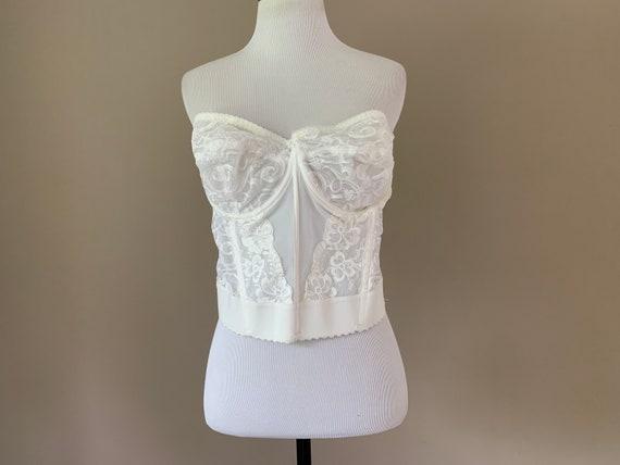 Vintage Plus Size Bustier Bra Top, White Lace Vin… - image 1