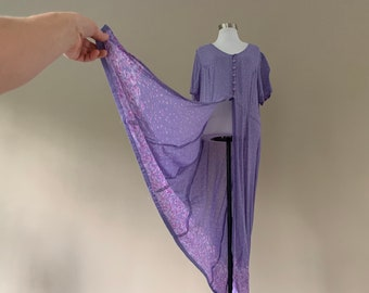 "Vintage Rayon Dress, Vintage Prairie Peasant Dress, 1990's Friends ""The Phoebe"", Large, L, Rayon Blend, Ultra Dress New York"