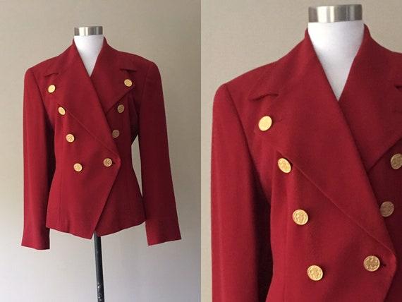 Ellen Tracy Boxy Wool Blazer Jacket, S/M