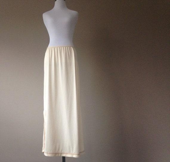 Vintage Maxi Skirt Slip Long Half Slip Lingerie Nude Nylon Etsy