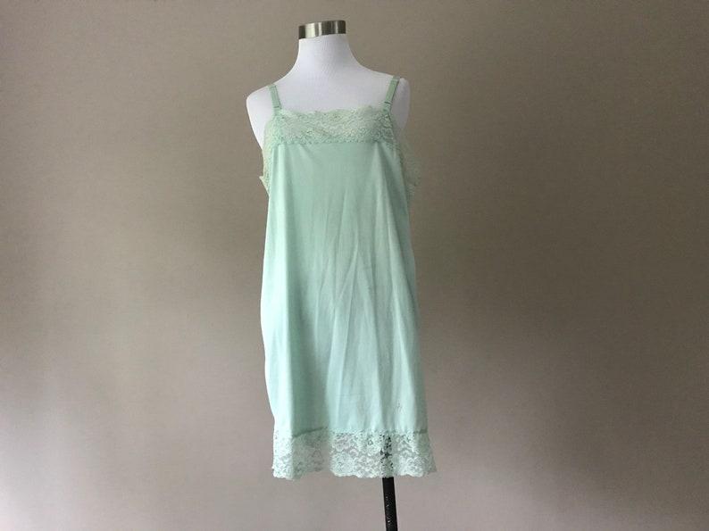 de1a08b5f1fb Full Slip Dress Slip Light Green Nylon and Lace Short Above | Etsy