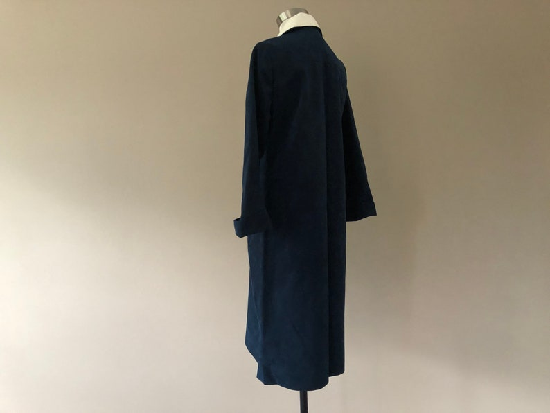 Navy Blue and White Collared Shirt Dress Ultra Suede Dress by Gidding Jenny