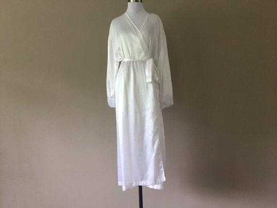 Liquid Satin Robe, White Bridal Dressing Gown Kimo