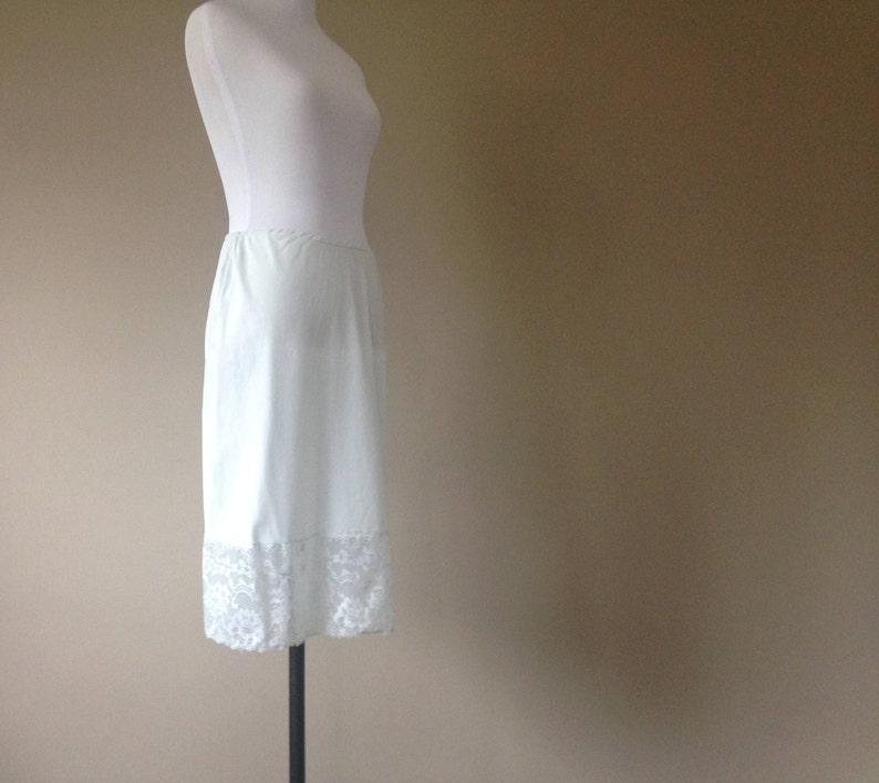 Small S by Van Raalte Light Blue Nylon with Wide Lace Vintage Half Slip Skirt Slip Extender