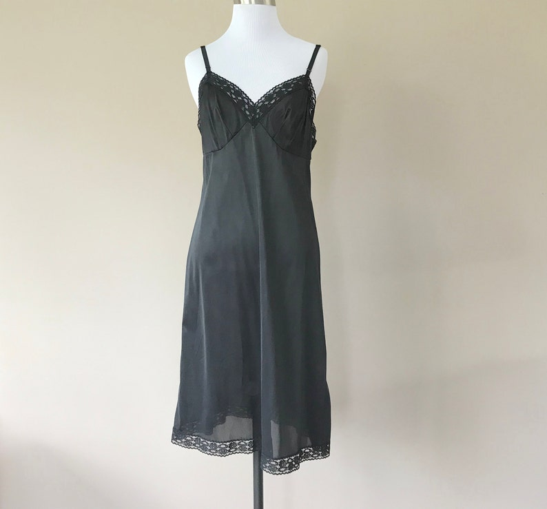 f1a340a745d Vintage Full Slip Dress Slip Lingerie Black Nylon with Lace