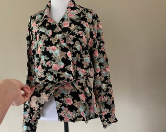 Vintage Floral Rayon Blouse Shirt Women's Top by Carol Little, Made in USA, Small/Medium