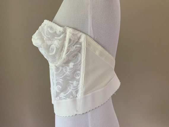 Vintage Plus Size Bustier Bra Top, White Lace Vin… - image 6