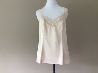 Vintage Olga Cami, Light Nude Nylon Camisole Lingerie Top with Lace, Size 38, Large, L