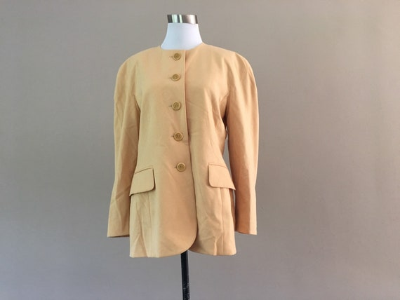 80's Escada Boxy Blazer, Vintage 1980's Yellow Mar