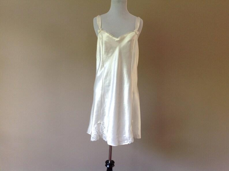 a392b72f62e Vintage Satin Slip Dress Chemise White with Lace Vintage