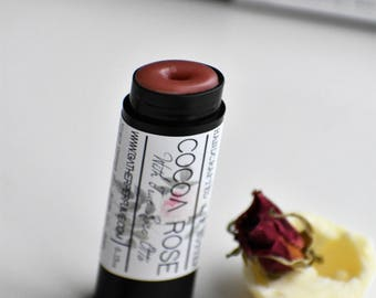 COCOA ROSE | Floral Artisan Lip Balm | Cocoa Absolute & Fine Bulgarian Rose Otto | 100% Natural, Creamy, Luscious, Soothing, Hand poured