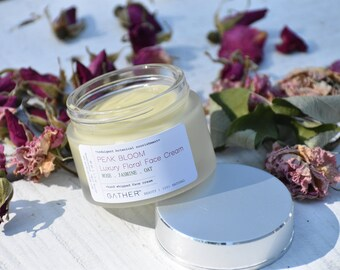 PEAK BLOOM - Luxury Floral Face Cream - 100% natural, hand whipped - Jasmine, Rose, Oat - Botanical Skin Care