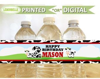 Printed Farm Water Bottle Labels, Barn Water Bottle Labels, Animals Farm Party, Cowboy Birthday, Barnyard Water Bottle, Lemonbells, WF04