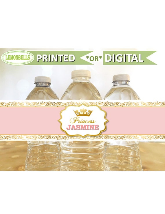 12 Princess Baby Shower Birthday Party Water Bottle Labels Stickers Crown Tiara