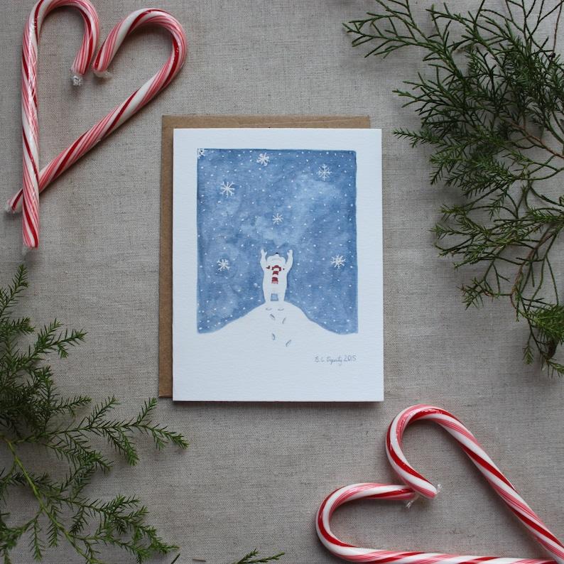 Christmas Notecard.Polar Bear Holiday Card Snowflake Christmas Notecard Blank Winter Note Cards Christmas Cards
