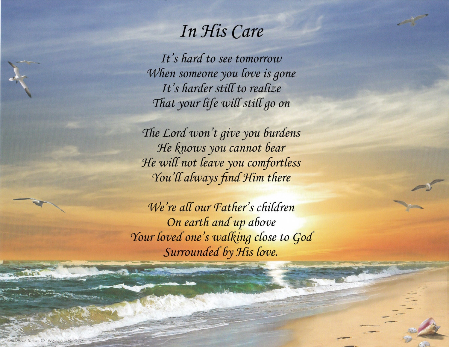 Inspirational Poem In His Care | Etsy