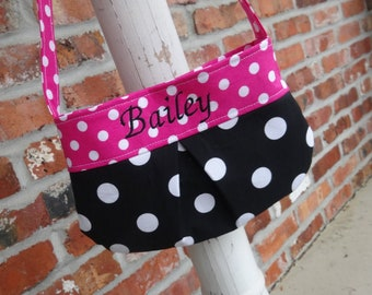 Personalized Child Purse with Magnetic Closure - Toddler Little Girl Kid, Handmade Gift, Pretend Purse, Tote - Black & Pink Polka Dots