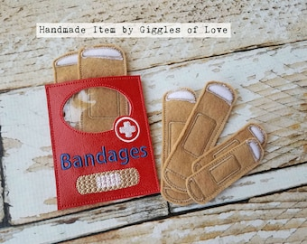 Pretend Play Bandages and Holder - Embroidery Handmade Child Gift Doctor Nurse Medical Educational Imagination