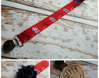 Baby Pacifier Clip - STL Cardinals Inspired Baseball, Cardinal on Bat (Shabby Rose or Feltie Option) Baby Boy Baby Girl